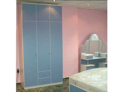 A cloakroom with three wings